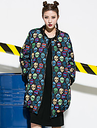 Women's Going out Simple Trench Coat,Print Round Neck Long Sleeve Fall Winter Wash inside out Dry flat Cotton Polyester Regular