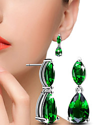 Drop Earrings Ball Earrings Crystal AAA Cubic Zirconia Alloy Cubic Zirconia Silver Green Jewelry Wedding Party Daily Casual 1 pair