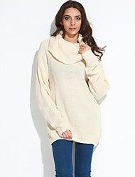 Women's Casual/Daily Simple Regular PulloverSolid Gray Turtleneck Long Sleeve Polyester