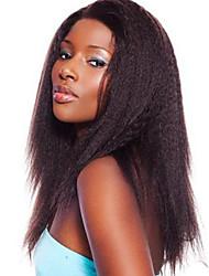 cor marrom escuro cabelo humano peruca Kinky em linha reta com o cabelo do bebê 130% de densidade da Malásia frente perucas do laço do