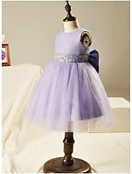 BONJEAN Robe de Soirée Courte / Mini Robe de Demoiselle d'Honneur Fille - Organza Bijoux avec Billes Noeud(s)