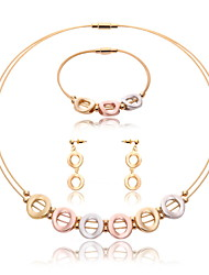 Women Gold Wedding Gifts Party Circular Hollow Link Fashion Necklace Earrings Bracelet Three-piece Set