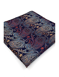 BH26 Mens Pocket Square Navy Blue Paisley 100% Silk Business Casual Jacquard New For Men
