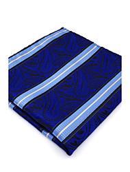 BH8 Mens Pocket Square Dark Blue Paisley 100% Silk Business Dress Casual Jacquard Woven For Men