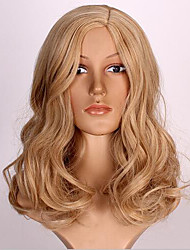Blonde Medium Length Heat Resistant Body Wave Hair Synthetic Wigs Natural Hair European Style For Woman