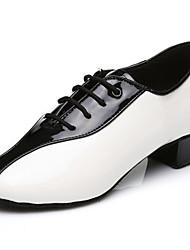 Customizable Men's Dance Shoes Leatherette Leatherette Latin Heels Chunky Heel Practice Beginner Indoor Outdoor Performance White