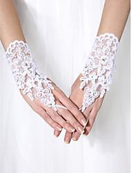 Wrist Length Fingerless Glove Tulle Bridal Gloves Beading