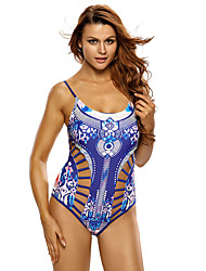 Women's Printed Strappy Cutout One Piece Swimsuit