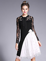 2017 Women's Vintage Elegance Sexy Embroidered Lace Patchwork Black White Color Blocking Dress