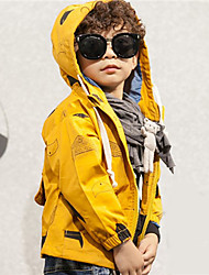 Boy's Casual/Daily Print Trench CoatCotton Spring / Fall Yellow