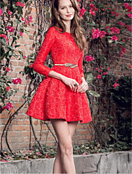 Women's Going out Holiday Street chic Sophisticated A Line Dress,Jacquard Lace Round Neck Above Knee ¾ Sleeve Polyester Nylon RedSpring