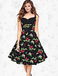 Women's Formal Vintage Swing Dress,Print Strapless Knee-length Sleeveless Polyester Blue White Black Spring Summer High Rise Micro-elastic