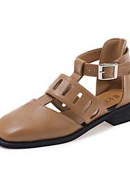 Women's Sandals Summer Fall Comfort Cowhide Office & Career Dress Casual Low Heel Buckle Black Walking