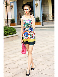 BLUEOXY Women's Going out Casual/Daily Holiday Sexy Bodycon Dress,Floral Round Neck Above Knee Sleeveless Polyester Multi-color Spring SummerLow