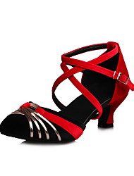 Non Customizable Women's Dance Shoes Velvet Velvet Latin Salsa Sandals Cuban Heel Practice Professional Performance Black Blue Green Gray