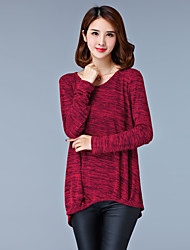 Women's Plus Size Simple Spring Fall Blouse,Print V Neck Long Sleeve Multi-color Cotton Thin