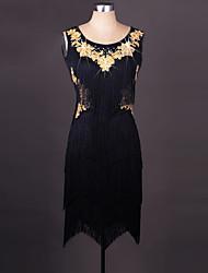 Latin Dance Dresses Women's Performance Spandex Organza Embroidery Tassel(s) 1 Piece Sleeveless Dress