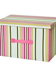 RayLineDo® 26L Foldable Canvas Storage Box Clothes Blanket Closet Sweater Organizer Home Docor Box In Pink Stripes