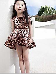 Girl's Going out Leopard Dress,Faux Fur Summer Short Sleeve