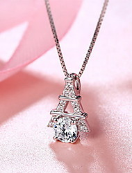 Pendants Crystal Sterling Silver Zircon Cubic Zirconia Basic Unique Design Fashion Silver Jewelry Daily 1pc