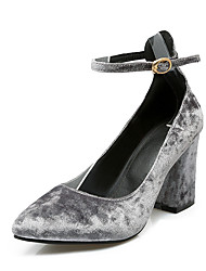 Women's Heels Spring Summer Other Leatherette Dress Chunky Heel Others Almond Blue Fuchsia Gray Black