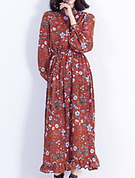 Women's Casual/Daily Holiday Vintage Cute Sheath Dress,Floral Ruffle Stand Maxi Long Sleeve Lantern Sleeve Polyester Red Spring Mid Rise