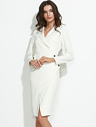 Women's Work Sexy Sheath Dress,Solid Cowl Knee-length Long Sleeve White Cotton Spring Mid Rise Micro-elastic Medium