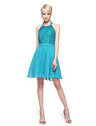 2017 Lanting Bride® Knee-length Chiffon Lace Elegant Bridesmaid Dress - A-line Halter with Appliques Pleats