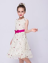 A-line Knee-length Flower Girl Dress - Organza Jewel with Bow(s) Embroidery