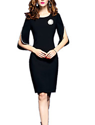 Women's Formal Work Party/Cocktail Sexy Street chic Sophisticated Bodycon Dress,Solid Round Neck Knee-length Above Knee ½ Length Sleeve