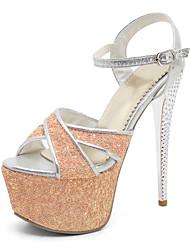 Women's Heels Spring Summer Fall Comfort Glitter Wedding Party & Evening Dress Stiletto Heel Buckle Black Blue Yellow Pink Walking