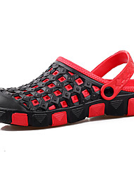 Men's Sandals Summer Hole Shoes PU Casual Flat Heel Coffee Red/Black