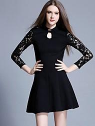 Feminino Vestidinho Preto Vestido, Formal Festa/Coquetel Sofisticado Sólido Colarinho Chinês Acima do Joelho Manga Longa Preto Algodão