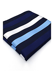 BH27 Mens Pocket Square Navy Blue Stripes 100% Silk Business Casual Jacquard New For Men