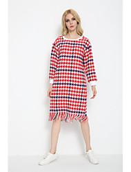 Damen Hülle Kleid-Ausgehen Lässig/Alltäglich Einfach Street Schick Verziert Rundhalsausschnitt Knielang Ärmellos RosaKunst-Pelz Baumwolle
