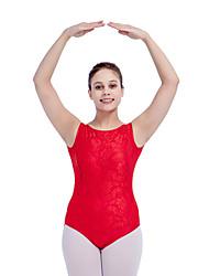 Ballet Leotards Women's Children's Training Nylon Lycra Lace Mesh 1 Piece Sleeveless Leotard
