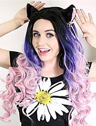 sylvia dentelle synthétique avant perruque racines noires résistantes ondes longues natual purple trois tons ombre cheveux chaleur cheveux