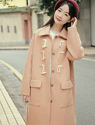 Pricing is not less than 188 yuan quality horn button wool coat female real shot spot