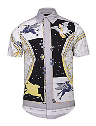 Men's Casual/Daily Party/Cocktail Club Street chic Active Punk & Gothic Summer ShirtPrint Shirt Collar Short Sleeve White