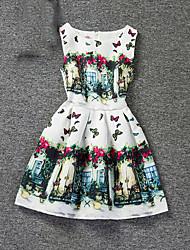 Girl's Beach Floral Print Dress,Cotton Polyester Summer Sleeveless