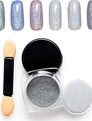 1PC Nail Art The Magic Mirror Powder 7 Colour Silver 1g Box  With Swab