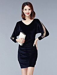 Women's Plus Size Vintage Loose Dress,Solid V Neck Above Knee Long Sleeve Polyester Black Silver Spring Fall Mid Rise Micro-elastic