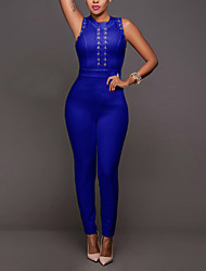 Women's Slim JumpsuitsCasual/Daily Club Sexy Simple Solid Cramp Ring Round Neck Sleeveless Mid Rise Micro-elastic Summer