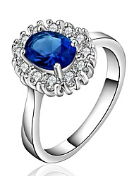 Ring AAA Cubic Zirconia Zircon Cubic Zirconia Copper Silver Plated Blue Jewelry Daily Casual 1pc