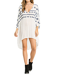 Women's Wesyern Style V Neck Loose Beach Cover-Up Floral Cotton White
