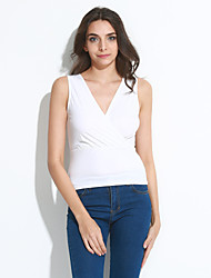 Women's Going out Simple Summer Blouse,Solid V Neck Sleeveless White Polyester Thin
