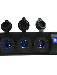 DC 12V/24V Three led power Sockets with rocker switch jumper wires and housing holder