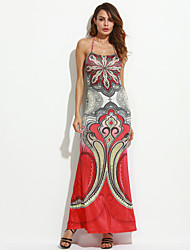 Women's Party / Club Sexy Bodycon Dress,Floral Halter Maxi Sleeveless Red Polyester Summer