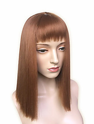 Golden Brown Wig Yaki Straight Long Wig Women's Wig Capless With Bangs
