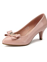 Women's Spring Fall Patent Leather Office & Career Casual Kitten Heel Bowknot Pink